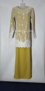 Baju kurung moden size 36 mustard