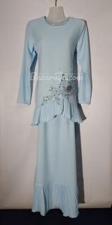 Baju kurung moden size 36 baby blue